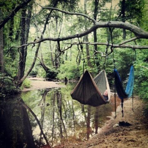 Setup hammock over a pond