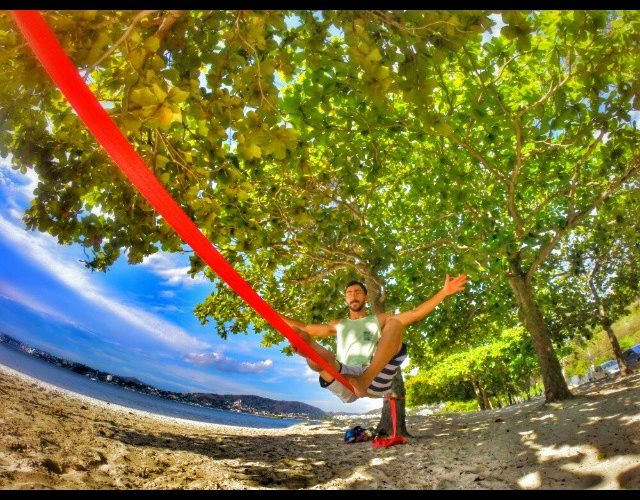 yoga position on a slackline